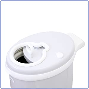 Angled top view of the Ubbi diaper pail showing the sliding lid partially opened
