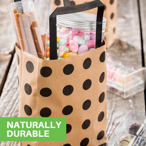 These kraft paper bags are naturally durable to prevent punctures and rips.