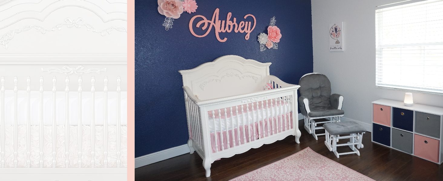 5-in-1 convertible crib Aurora Evolur baby bed girl nursery princess room