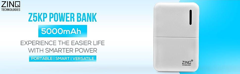 Zinq Technologies Z5KP 5000mAH Lithium Polymer Power Bank (White)