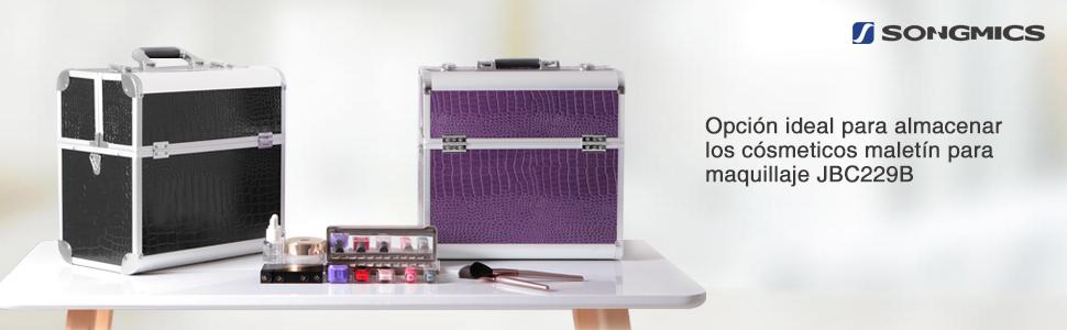 SONGMICS Maletín para maquillaje aluminio Estuche de maquillaje JBC229