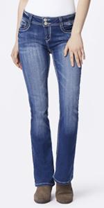 Cruel Girl Women/'s Allison Low And Lean Fit Boot Cut Jeans SIZES 3 7 11 15