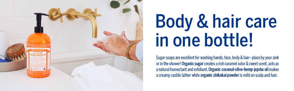 Dr. Bronner's, Sugar Soap, Body and Hair