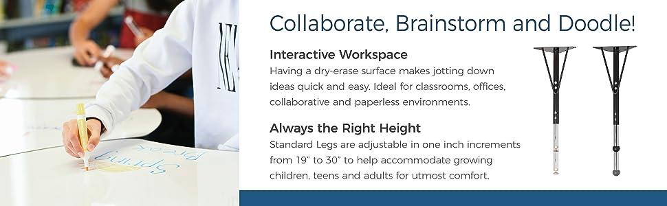 fdp, factory direct partners, dry-erase table, activity, collaboration, office, desk, flexible