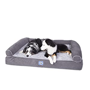 Amazon Com Sealy Ultra Plush Sofa Style Bolster Dog Bed Gray Large Orthopedic Foam Pet Bed With Machine Washable Plush Cover Pet Supplies