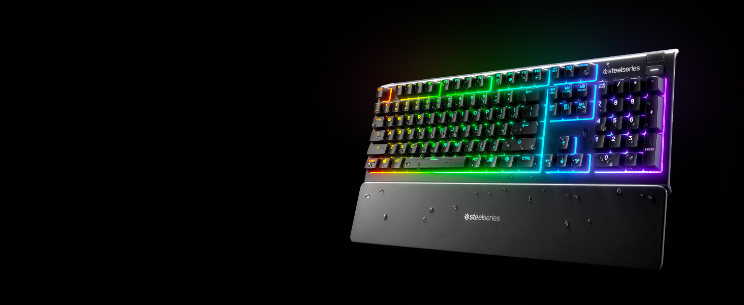 - Apex 3 keyboard with wrist rest and water droplets