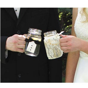 Bride amp; Groom Vintage Lace Tuxedo Glass Covers