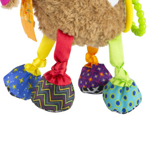 Colorful legs with fun crinkles and jingles for baby to discover