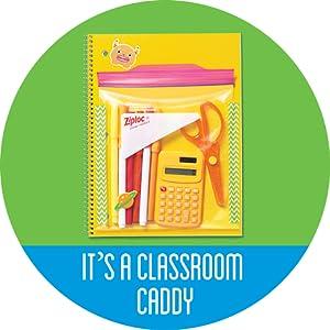 Ziploc Storage Bag with school supplies