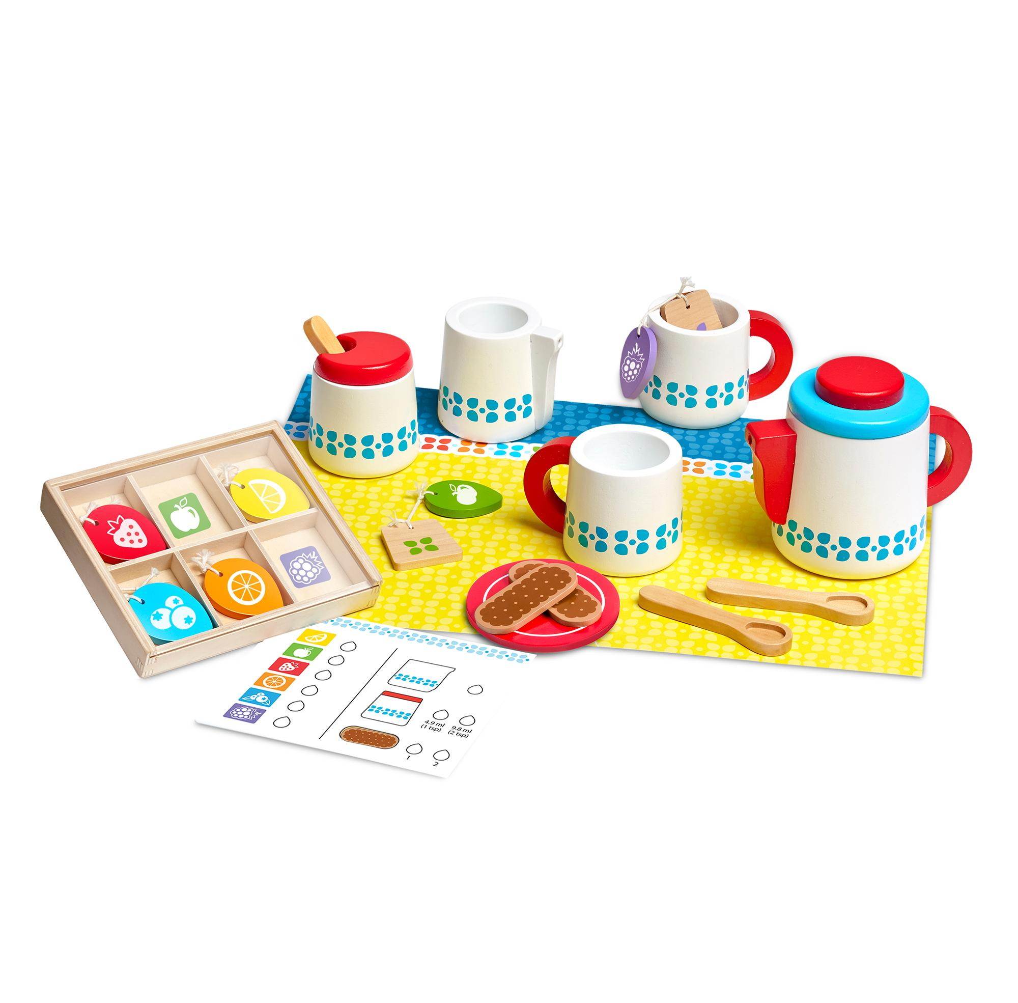 Melissa & Doug Wooden Make-a-Cake Mixer Set, Play Food and Kitchen ...