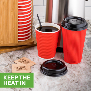 12 oz coffee cups and 16oz coffee cups on a counter next to coffee cup lids and coffee cup organizer