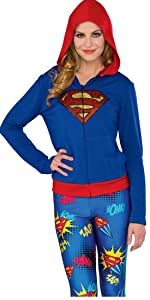 Supergirl hooded sweater shown with leggings