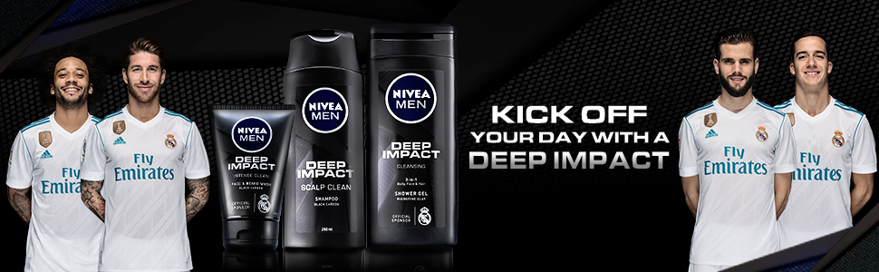 DEEP IMPACT SHOWER GEL bottle with official sponsor Real Madrid