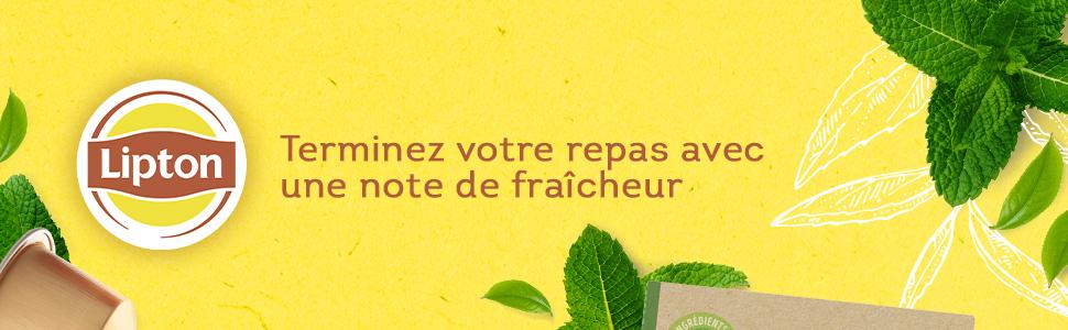 Lipton Thé Vert Menthe Label Capsules, infusion verveine menthe, thé a la menthe, fraîcheur, infusé