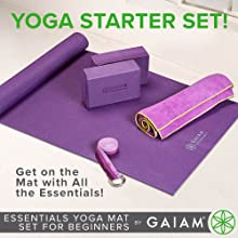 "Gaiam Essentials Yoga Mat Set for Beginners | Kit Includes Premium Yoga Mat (72""Long x 24""W x 6mm Thick) with Yoga Mat Carrier Sling, Yoga Block 2 ..."
