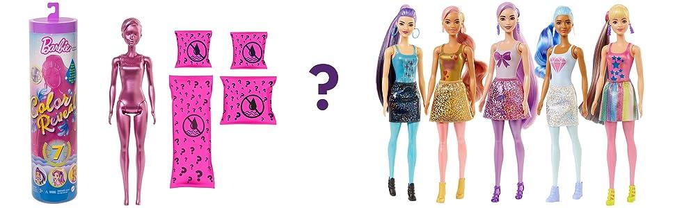 Barbie Color Reveal Serie Metallic Bambola con 7 Sorprese, Assortimento Casuale, per Bambini da 3+
