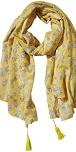 Tickled Pink Pineapple print white pineapples on yellow background with yellow fringes summer scarf