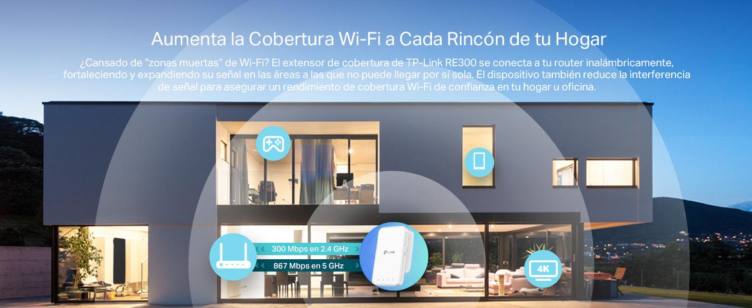 TP-Link RE300 AC1200 - Repetidor de WiFi inteligente sin interrupción (Amplificador de WiFi, One Mesh con smart Roaming, Doble banda high speed, ...
