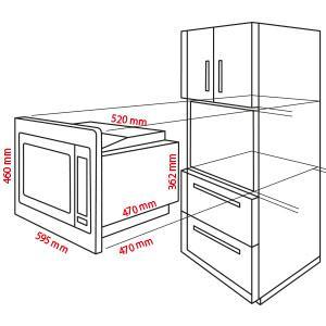 bomann mwg 2216 h eb einbau mikrowelle mit grill und hei luft 25 liter 5 mikrowellen. Black Bedroom Furniture Sets. Home Design Ideas