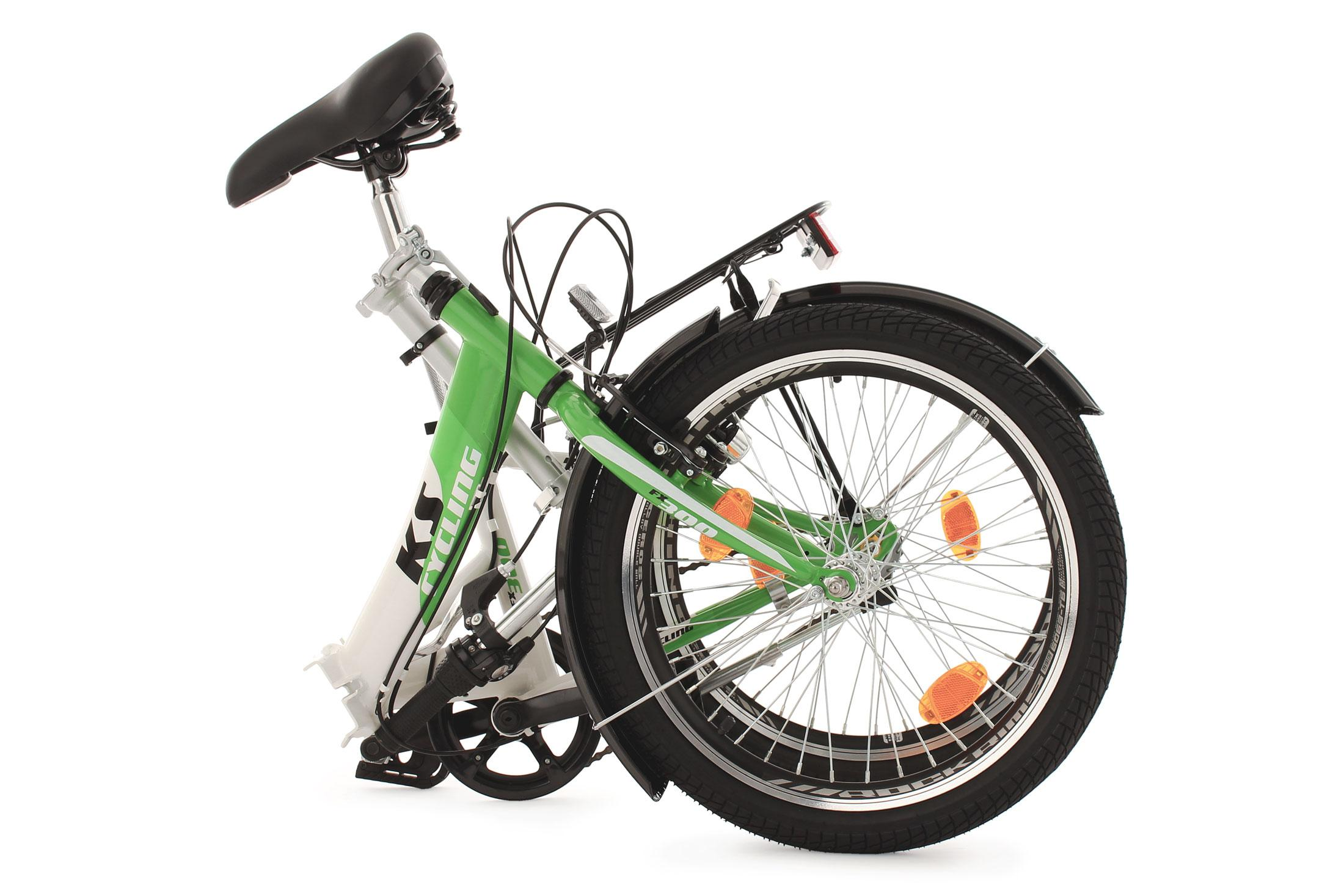 ks cycling fahrrad klapprad fx300 3 g nge gr n weiss 20. Black Bedroom Furniture Sets. Home Design Ideas