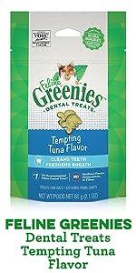 Feline Greenies Dental Treats Tempting Tuna Flavor, Greenies for Cats, Tuna Cat Treats, Treating