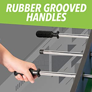 Rubber grooved handles sturdy rods