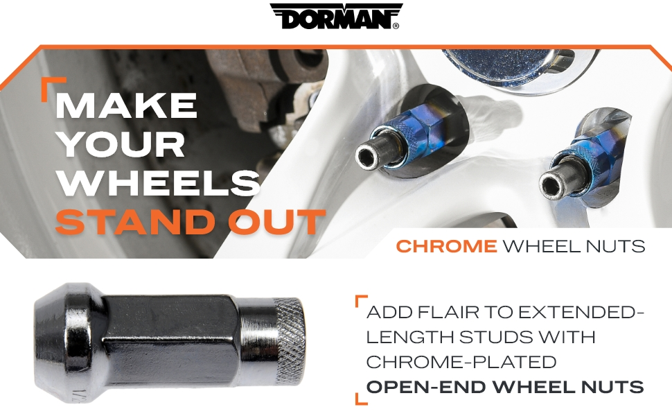 Add flair to extended-length studs with chrome open end wheel nuts
