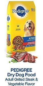 Pedigree Dry Dog Food Adult Grilled Steak & Vegetable Flavor, Meat Dog Food, Protein Rich