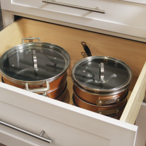 stackable in drawer, space saving pots and pans