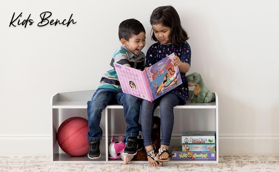 Iris Ohyama, Meuble / Banc de rangement pour Enfants - Kids Bench KBN-3