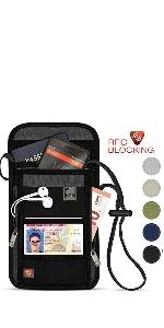 RFID Blocking Stash Neck Wallet, Travel Pouch + Passport Holder for Women & Men