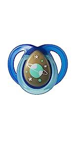 glow in the dark pacifier glow-in-the-dark blue space stars moon sun planets universe boy girl binky