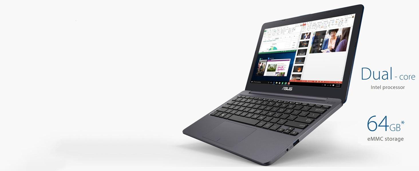 "ASUS VivoBook L203MA Ultra-Thin Laptop, 11.6"" HD, Intel Celeron N4000 Processor (up to 2.6 GHz), 4GB RAM, 64GB eMMC, USB-C, Windows 10 in S mode, One ..."