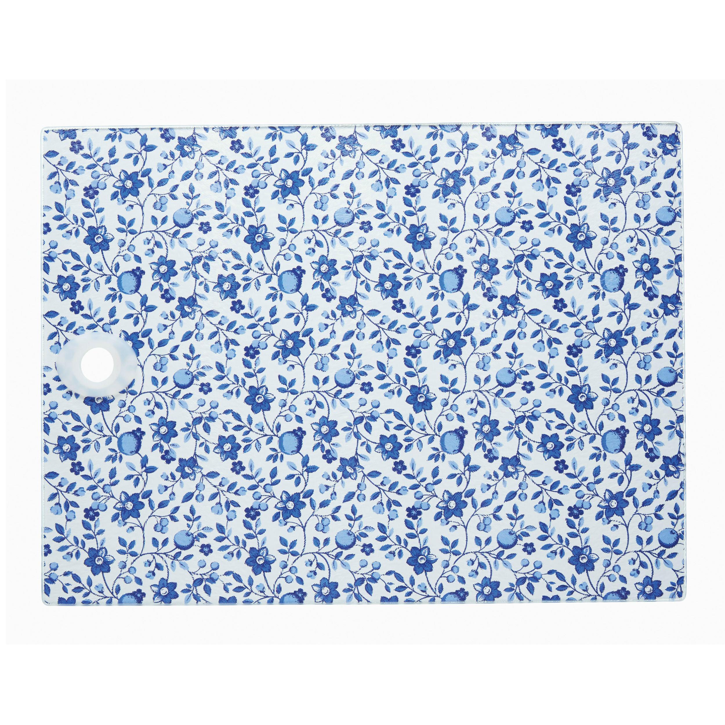 KitchenCraft \'Traditional Blue\' Toughened Glass Worktop Saver, 40 x ...