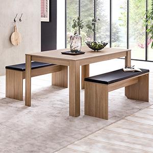 Finebuy Fb51797 Dining Room Set Sonoma Oak Dining Table With 2 Benches Modern Wood Dining Set Small Dining Set 3 Piece Set Amazon De Kuche Haushalt