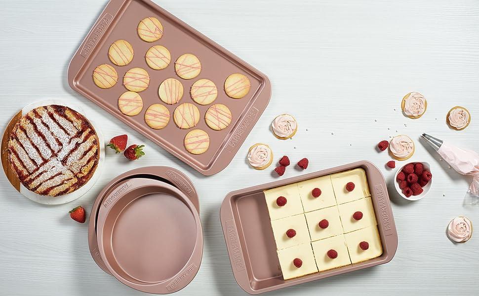 bakeware, nonstick bakeware, bakeware set, farberware, farberware bakeware, rose gold