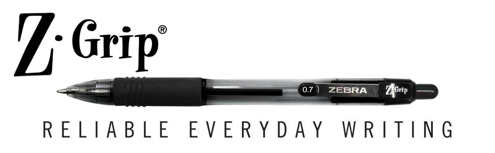 z-grip collection from zebra pen, z-grip brand banner, z-grip tagline, find zen in your zebra pen