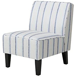Charmant Blue Striped Armless Slipper Chair