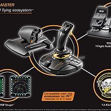 joystick, thrustmaster, t16000, simulacion vuelo, realidad virtual