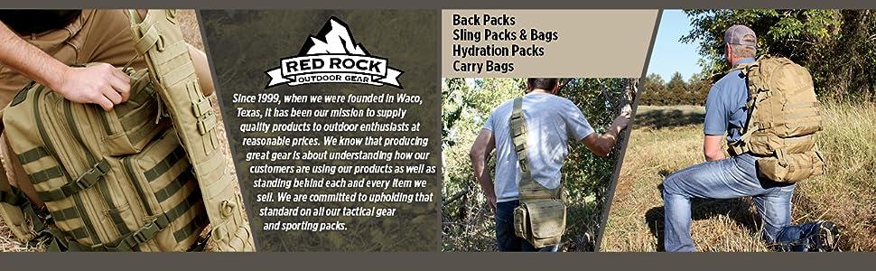 Backpacks, sling packs and bags, gun bags, carry bags, hydration packs