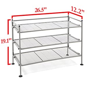 seville classics shoe heels storage utility rack cheap metal mesh silver gray pewter shelf