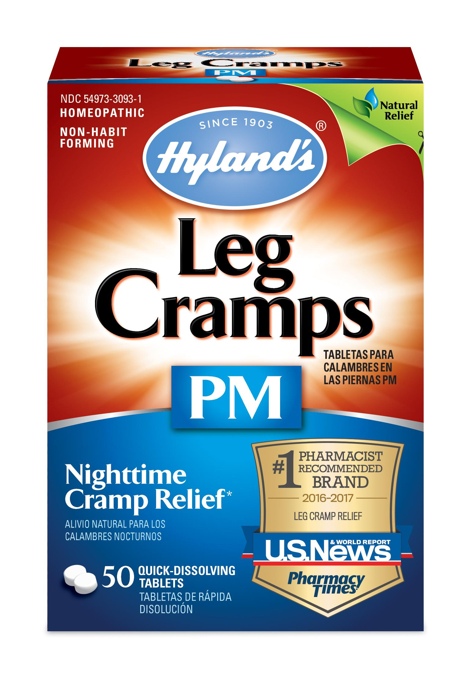 Hyland's Night Time Leg Cramps PM Tablets, Natural Pain Relief with Restful  Sleep, 50 Count