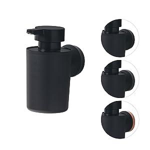 mit austauschbaren Dekor-Ringen zur individuellen Gestaltung Tiger Urban Seifenspender zur Wandbefestigung Farbe Schwarz