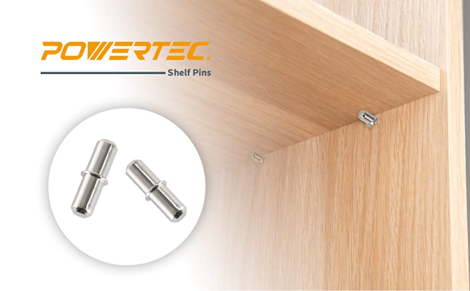 Woodworking Tools Collection POWERTEC QP1205 Cylindrical Shaped Shelf Pins 1//4-Inch 50 Pack Cabinet Pins for Shelves and I Shape Shelf Hole Support Nickle Plated