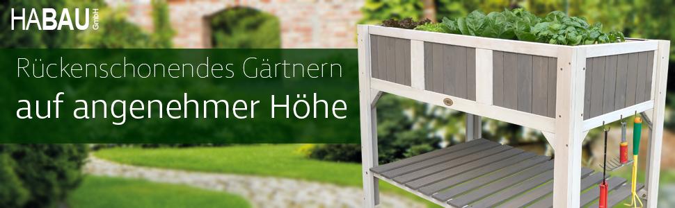 Habau Klara Hochbeet Weiss Grau