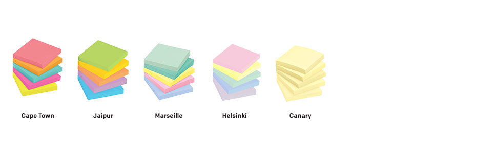 Post-it Notes colors: Cape Town, Jaipur, Marseille, Helsinki, and Canary