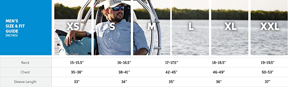 Men's fishing shirt size and fit guide