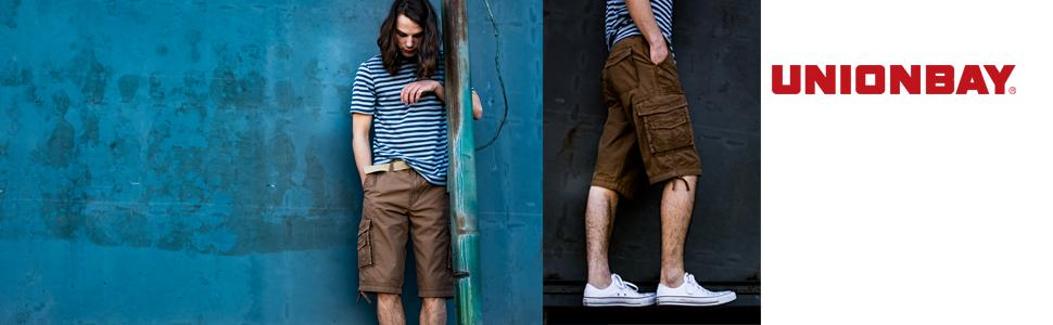 ccbfaf41a3 Amazon.com: Unionbay Men's Cordova Belted Messenger Cargo Short ...