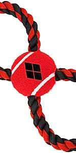 Harley Quinn Joker Birds Prey Daddy Little Monster Dog Toy Tug Rope Tennis Ball
