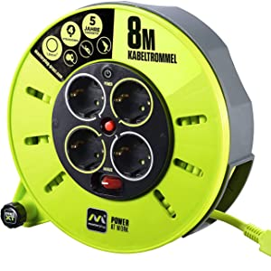 Masterplug Pro Xt Kabeltrommel Verlängerungskabel Mit 4 Steckdosen Wickelkurbel Thermoschutz Und Netzschalter 8 Meter Gut Sichtbares Kabel Baumarkt
